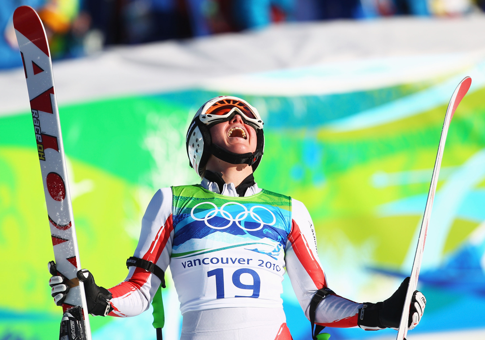 . Andrea Fischbacher of Austria reacts after competing in the women\'s alpine skiing Super-G on day nine of the Vancouver 2010 Winter Olympics at Whistler Creekside on February 20, 2010 in Whistler, Canada.  (Photo by Sandra Behne/Getty Images)