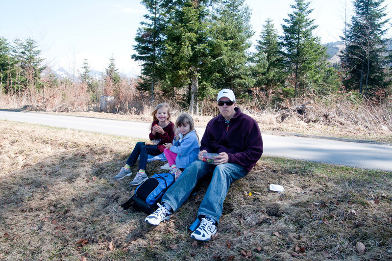 We had a quick lunch beside a country road.