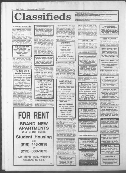 Daily Trojan, Vol. 108, No. 66, April 26, 1989