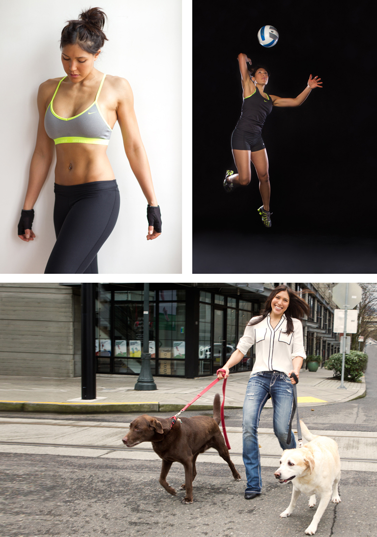 various fitness, sport, and lifestyle images of model