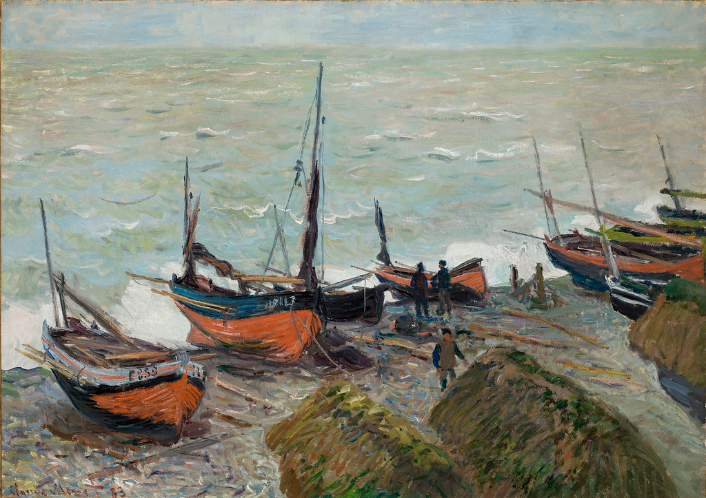 """. Claude Monet, \""""Bateaux de Peche aux Plage d\'Etretat,\"""" 1883, oil on canvas, 25.75x36.5  (Image provided by the Denver Art Museum)"""