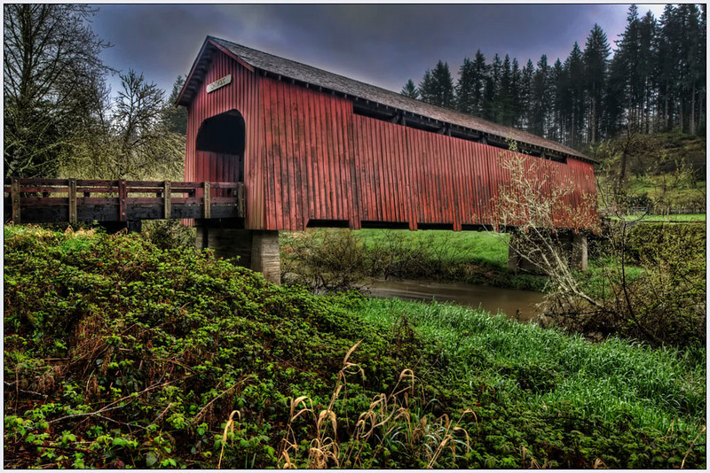 Oregon, old bridge, fine art, HDR