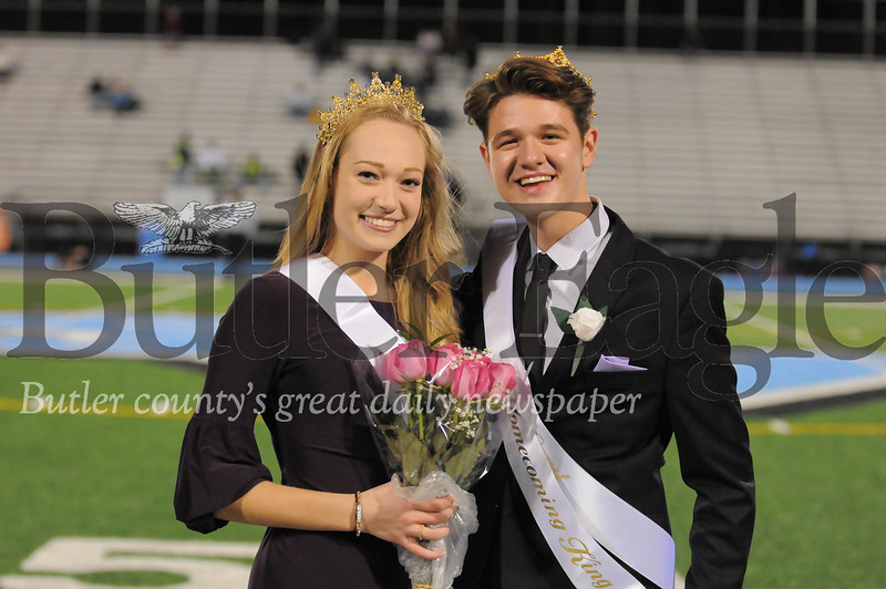 Seneca Valley Homecoming Queen Amanda Prista and King Jacob Geil pose before a game at Next Tier Stdium on Friday October 12, 2018 (Jason Swanson photo)