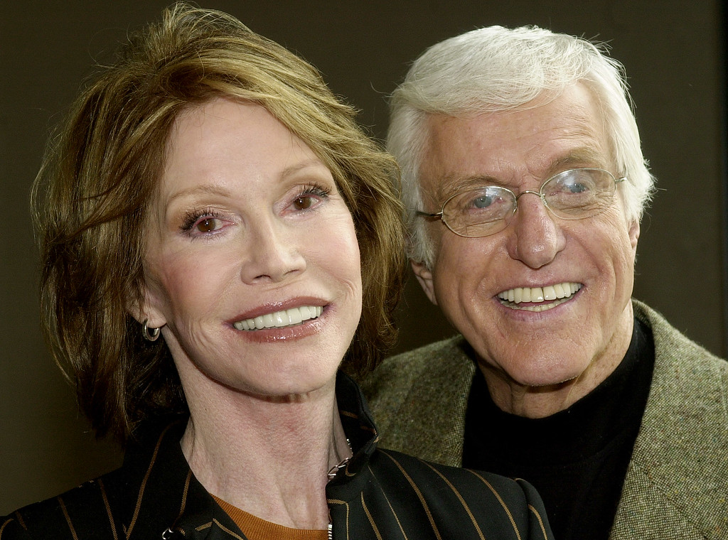 ". Mary Tyler Moore and Dick Van Dyke pose together following a press conference announcing their reunion in a new television adaptation of the play, ""The Gin Game,\"" part of the drama series \""PBS Hollywod Presents,\"" in Los Angeles\' Hollywood district Thursday, Jan. 9, 2003.  The production marks the first time that Moore and Van Dyke have acted together since their original teaming in the classic comedy series \""The Dick Van Dyke Show\"" in the 1960s.  The show is set to air in Spring, 2003.  (AP Photo/stf)"