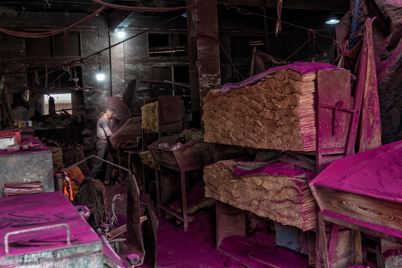 Incense factory worker
