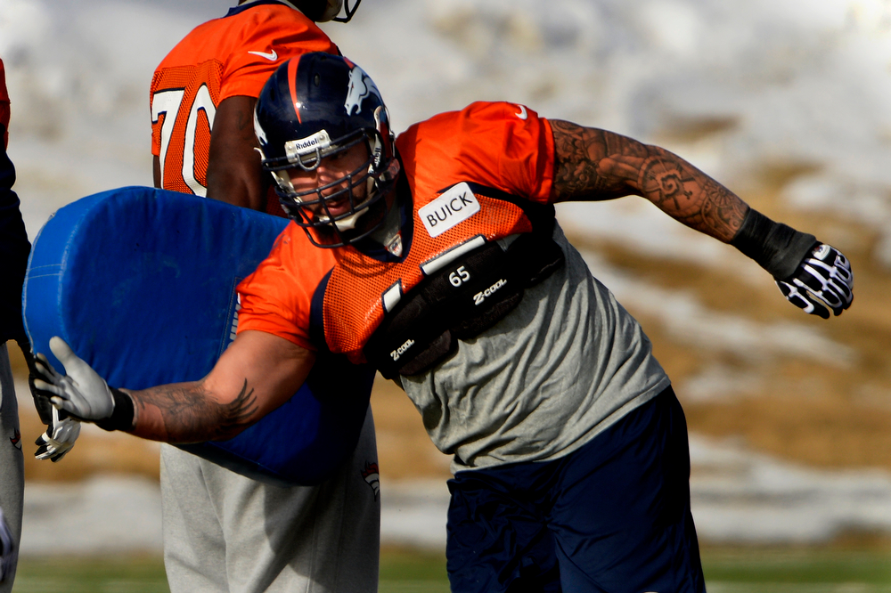 . Guard Louis Vasquez #65 of the Denver Broncos running drills during practice at Dove Valley in Centennial January 10, 2014 Centennial, Colorado. (Photo by Joe Amon/The Denver Post)