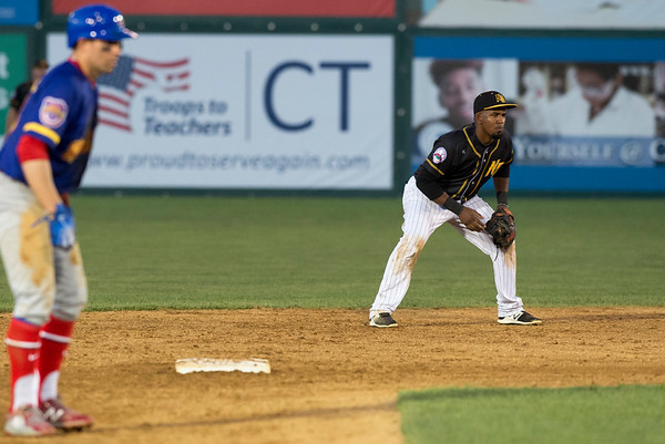 08/15/19 Wesley Bunnell | Staff The New Britain Bees vs the High Point Rockers at New Britain Stadium on Thursday, August 15, 2019. Second baseman Rando Moreno (4).