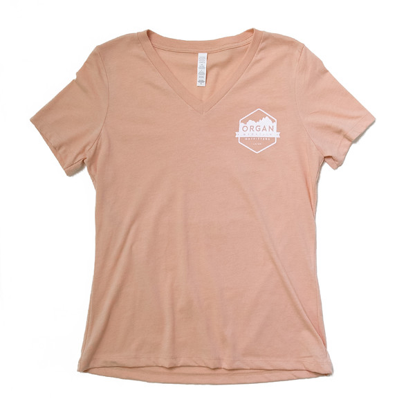 Organ Mountain Outfitters - Outdoor Apparel - Womens T-Shirt - Relaxed Pocket V-Neck Tee - Heather Peach.jpg