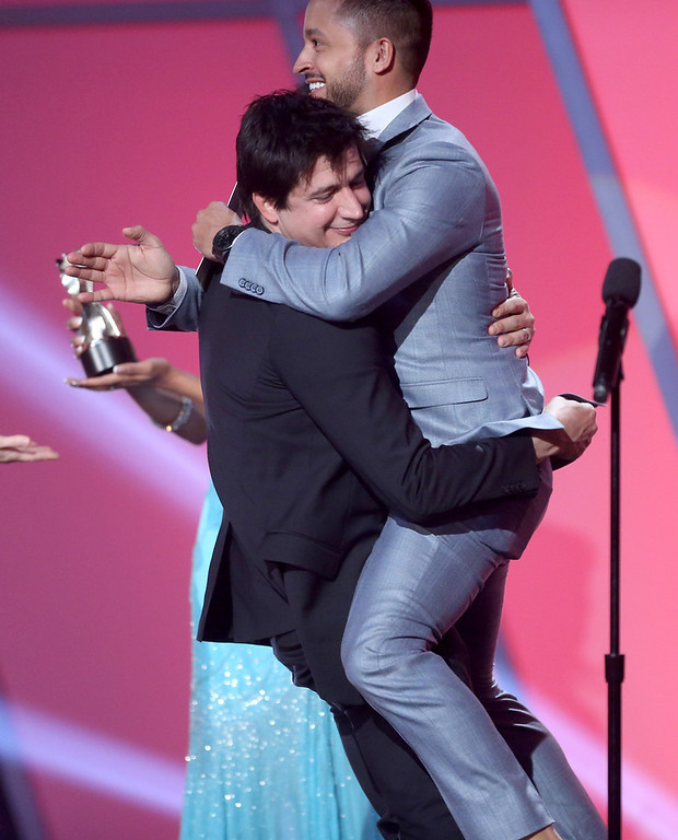 . Actor Ken Marino accepts the award for Best Comedy Series from presenter Jai Rodriguez onstage at the 3rd Annual Streamy Awards at Hollywood Palladium on February 17, 2013 in Hollywood, California.  (Photo by Frederick M. Brown/Getty Images)