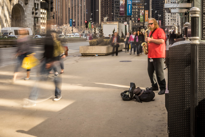 The busker in red shirt
