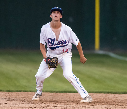 08/06/18 Wesley Bunnell   Staff The Bristol Blues vs the Pittsfield Suns in a one game playoff elimination game on Monday evening at Muzzy Field. First baseman Teddy Hague (14) looks at a pop up that would drift towards second base.