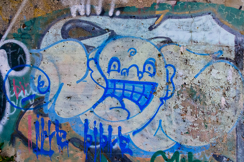 Grafitti Detail, Blue, Dequindre Cut, Detroit