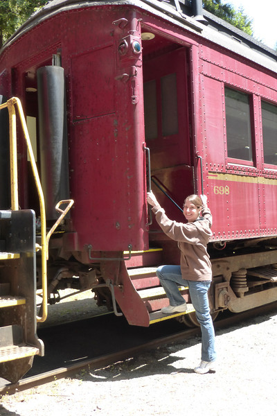 Diane getting on the train.