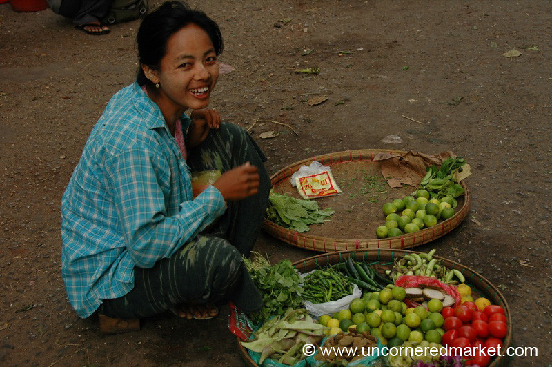 Vegetable Market Vendor - Rangoon, Burma (Yangon, Myanmar)