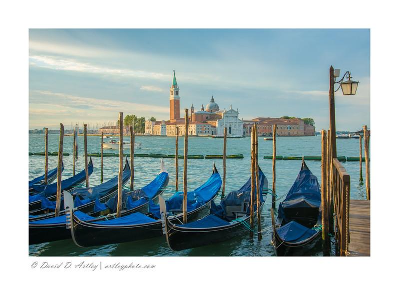 Gondolas and San Giorgio Maggiore, Venice, Italy