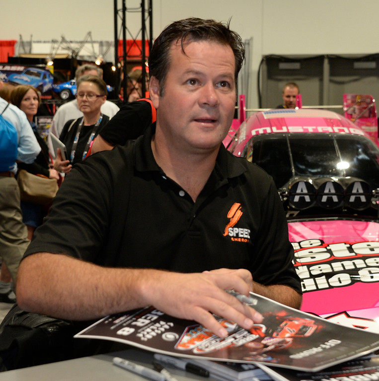 . Nov 6,2013 Las Vegas NV. USA. Off road racer Robby Gordon sign autographs at the Traxxas booth,  during the second day of the 2013 SEMA auto show. Photo by Gene Blevins/LA Daily News