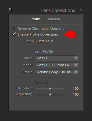 Enable Profile Correction in Lightroom