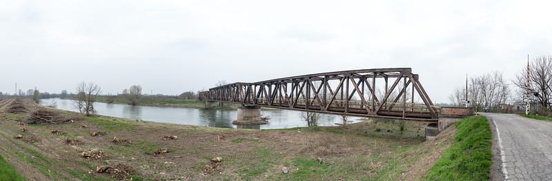 Railway Bridge over the Oglio River - Piadena, Cremona, Italy - March 24, 2015