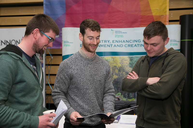 09/03/2018.  Land Sciences Careers Day. Waterford Institute of Technology and Teagasc marked 40 years of partnership at a Land Sciences Careers event for WIT students at the WIT Arena. The programmes the two collaborate on span right across the board from agrifood, to forestry, and horticulture.  Pictured are Breen Carroll WIT Student, Luke Middleton Forrest inspector, Dept of Agriculture and Niall Geoghegan WIT Student. Picture: Patrick Browne