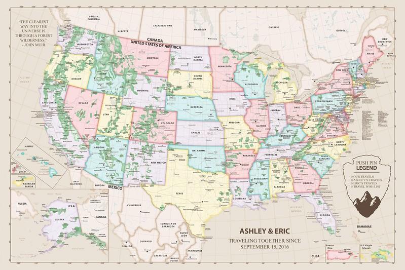 push pin national park map