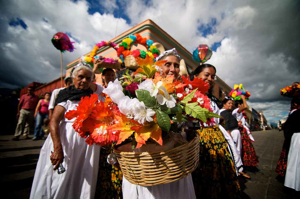 Ladies with Flowers - La Guelaguetza - Oaxaca, Mexico