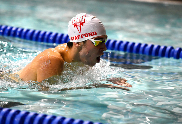1/7/2020 Mike Orazzi | StaffrBristol swimmer Ben Stafford in the 200 IM against Hall High School in Bristol.