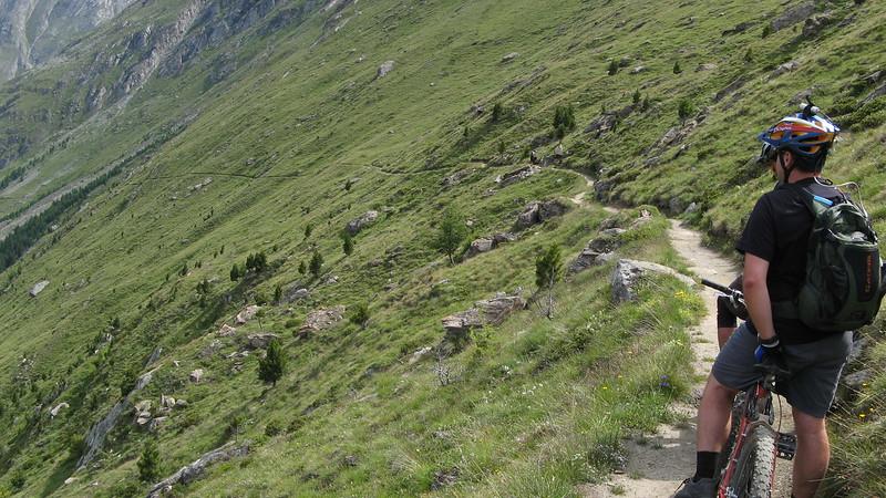 Ian crossing a ridge.