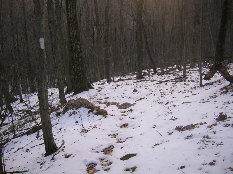 Snow-covered trail for Wednesday's hike north from Pen Mar.