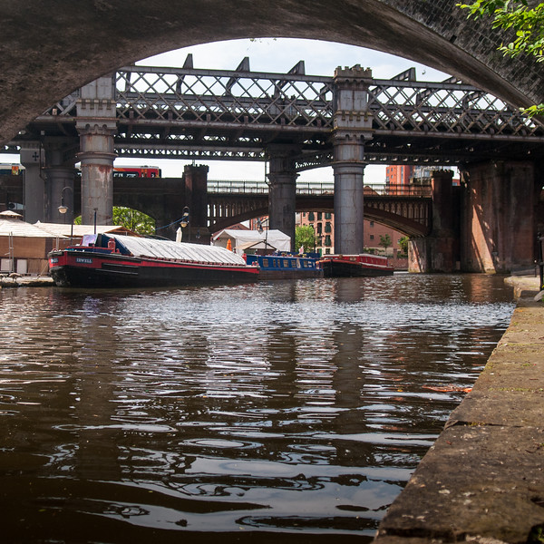 Train crossing Castlefield basin