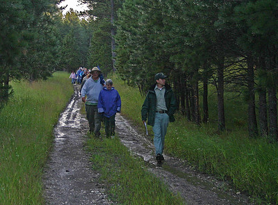 By the time Matt Padilla started the hikers down the road to the Meeker Ranch, the rains had stopped.  Nonetheless, we had to sidestep a few puddles and mudholes.