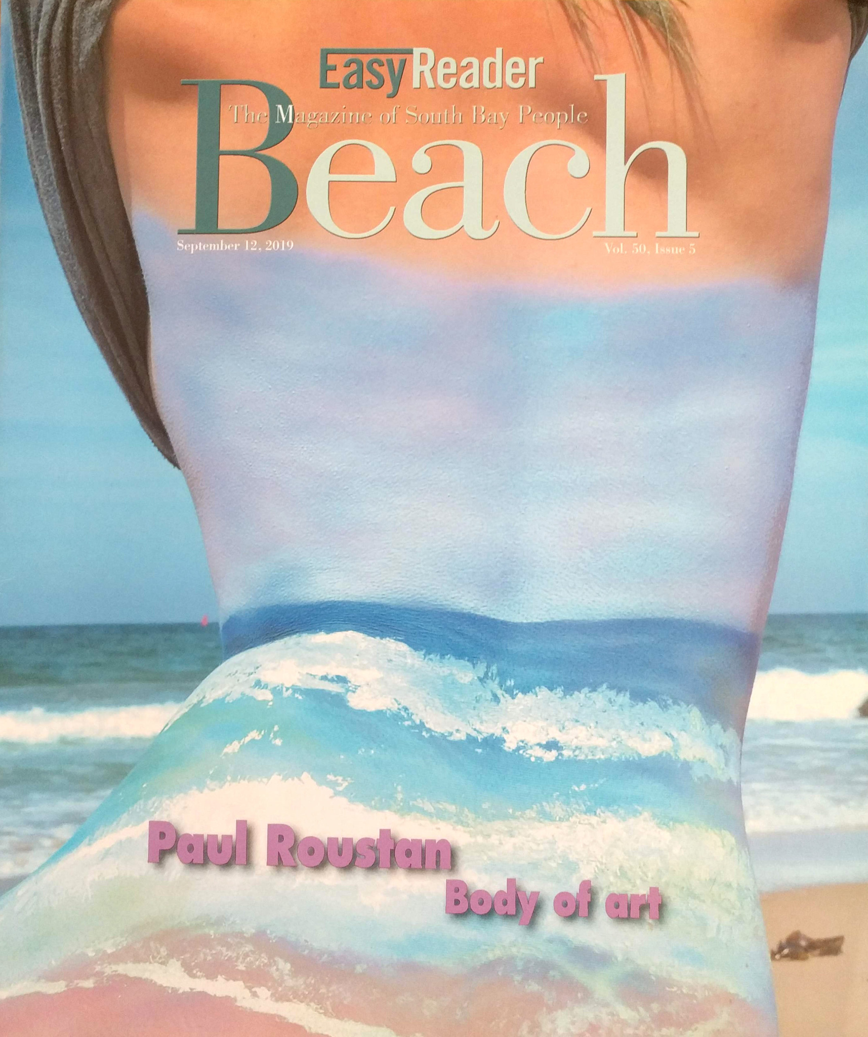Cover of Easy Reader Beach Magazine featuring body paint contemporary artist Paul Roustan