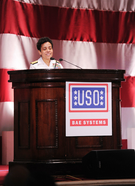 . Honoree Rear Admiral Michelle Howard speaks onstage at the USO 45th Annual Woman Of The Year Luncheon honoring Military Women and Women Business Leaders at the Grand Ballroom at The Waldorf=Astoria on April 26, 2011 in New York City.  (Photo by Mike Coppola/Getty Images for USO of Metro New York)