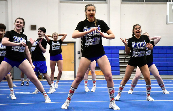 3/6/2020 Mike Orazzi | Staff Plainville High School Cheerleaders preparing for the state competition on Friday night at PHS.