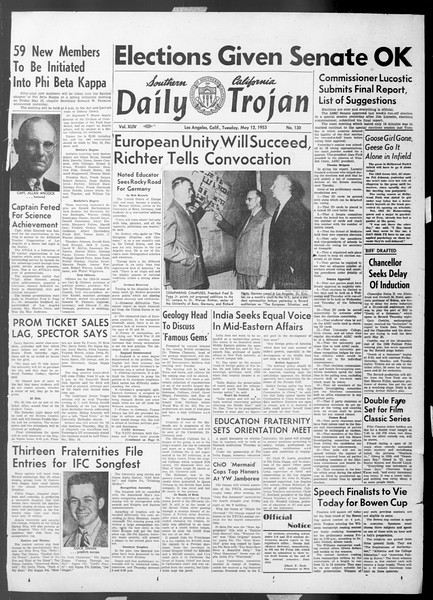 Daily Trojan, Vol. 44, No. 130, May 12, 1953
