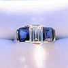 2.83ctw Vintage Emerald Diamond and Sapphire Trilogy Ring 11