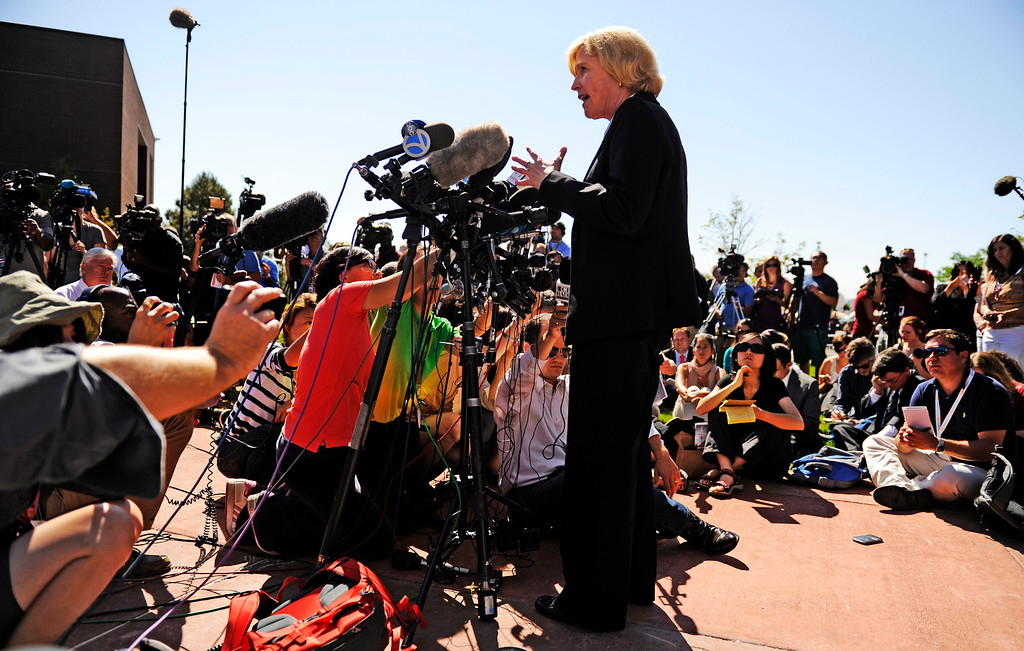 . District Attorney Carol Chambers declined to say whether her office would seek the death penalty in the case against James Eagan Holmes, after the 24-year-old suspect in the Aurora movie theater massacre appeared before an Arapahoe County judge, in Centennial, Colorado Monday, July 23, 2012. RJ Sangosti, The Denver Post