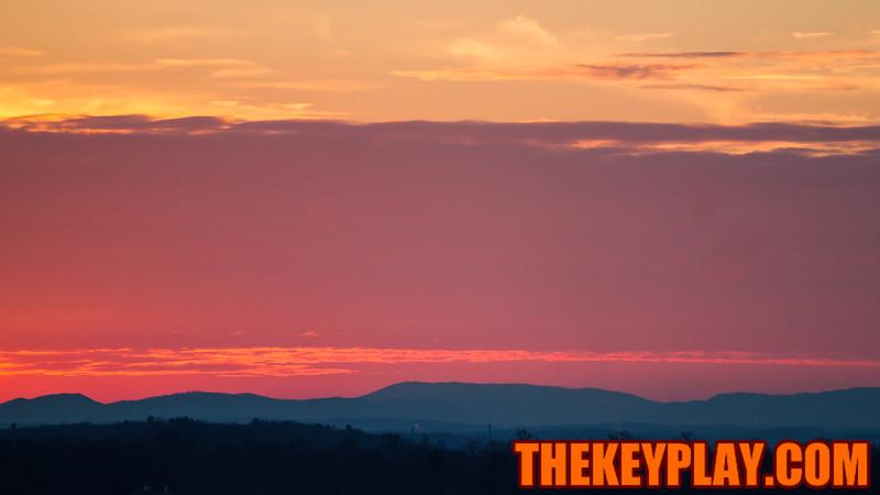 The sun sets over Blacksburg a few hours before kickoff. (Mark Umansky/TheKeyPlay.com)