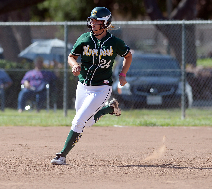 . Moorpark High School\'s Kassidy Simons #24 heads for 2nd base on a 2-RBI double during their girls softball game against Simi Valley High School at  Rancho Santa Susana Community Park in Simi Valley Tuesday April 15, 2014. (Photo by Hans Gutknecht/Los Angeles Daily News)