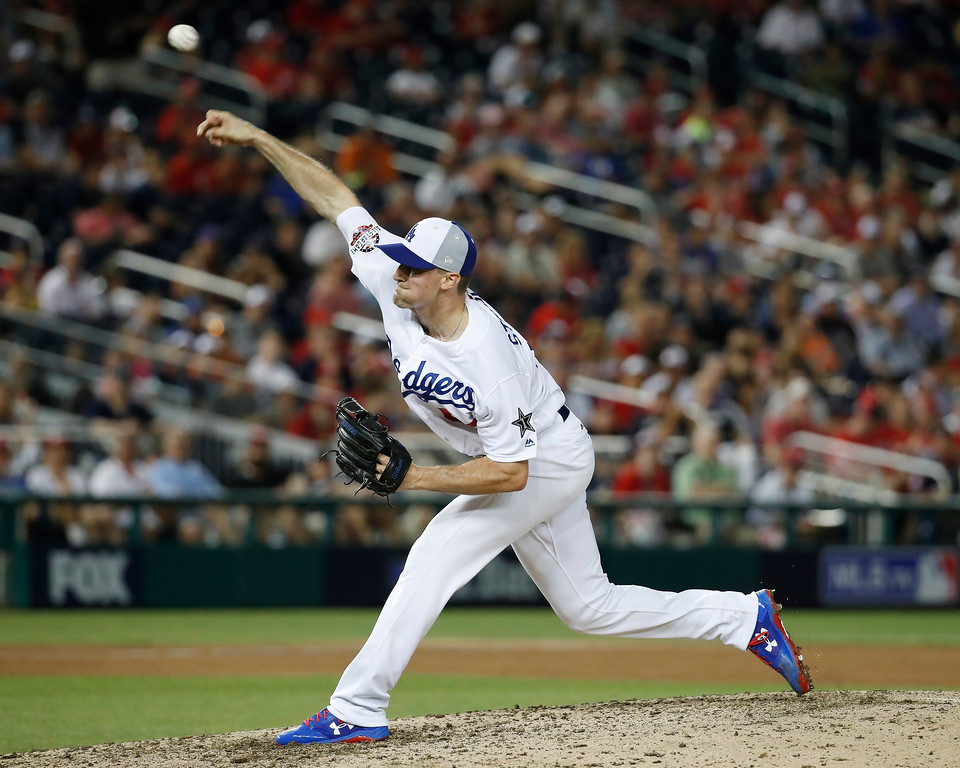 . Los Angeles Dodgers pitcher Ross Stripling (68) throws in the ninth inning during the Major League Baseball All-star Game, Tuesday, July 17, 2018 in Washington. (AP Photo/Alex Brandon)