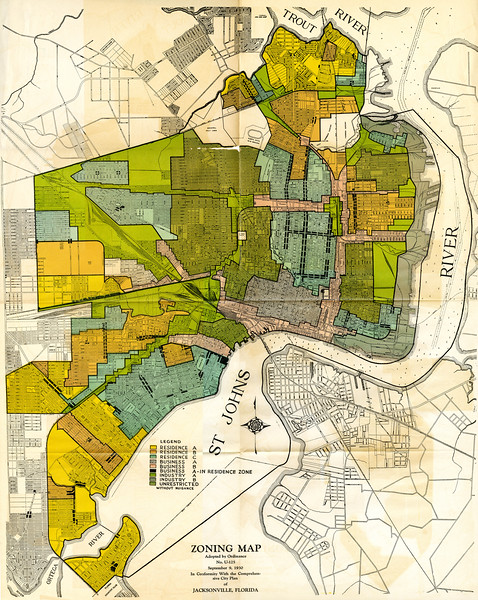 Zoning map, adopted by ordinance no. U-125, September 9, 1930. In conformity with the comprehensive city plan of Jacksonville, Florida. [Jacksonville, Fla. : Simons?, 1930?] Included in Comprehensive City Plan of Jacksonville, Supplement 1.