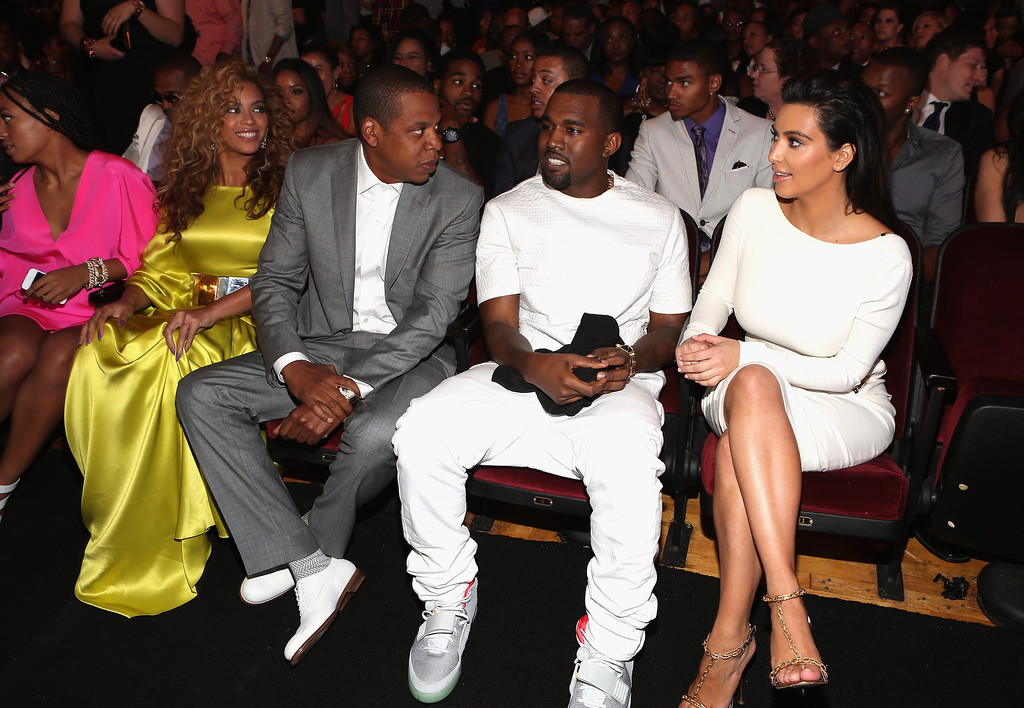 . (L-R) Singer Beyonce, rappers Jay-Z and Kanye West and television personality Kim Kardashian attend the 2012 BET Awards at The Shrine Auditorium on July 1, 2012 in Los Angeles, California.  (Photo by Christopher Polk/Getty Images For BET)