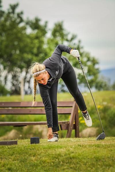 Saga Traustadóttir, GR, á 12. teig á Garðavelli.  Mynd/seth@golf.is