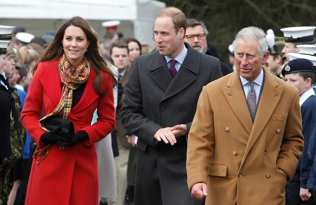 . Catherine, Duchess of Cambridge, Prince William, Duke of Cambridge and Prince Charles visit Dumfries House on March 05, 2013 in Ayrshire, Scotland. The Duke and Duchess of Cambridge braved the bitter cold to attend the opening of an outdoor centre in Scotland today. The couple joined the Prince of Wales at Dumfries House in Ayrshire where Charles has led a regeneration project since 2007. Hundreds of locals and 600 members of youth groups including the Girl Guides and Scouts turned out for the official opening of the Tamar Manoukin Outdoor Centre. (Photo by Danny Lawson - WPA Pool/Getty Images)