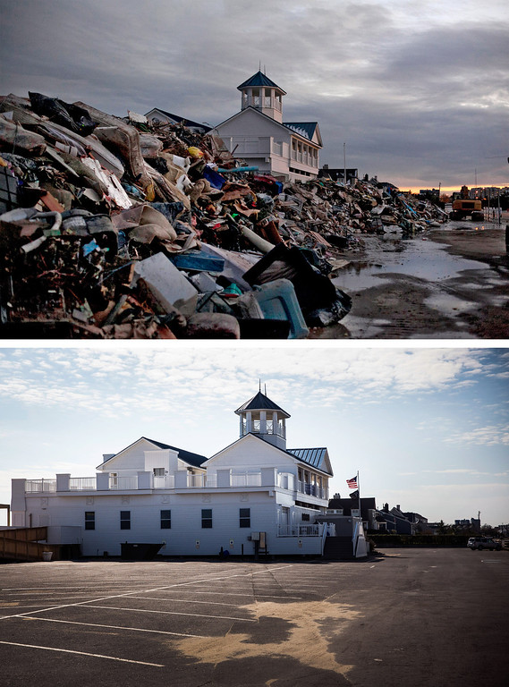 . MONMOUTH, NJ - NOVEMBER 8: (top) The Monmouth Beach pavilion is surrounded by debris caused by Superstorm Sandy on  November 8, 2012 in Monmouth, New Jersey. (Photo by Allison Joyce/Getty Images) MONMOUTH, NJ - OCTOBER 22: (bottom)   The Monmouth Beach pavilion is shown October 22, 2013 in Monmouth, New Jersey.  Hurricane Sandy made landfall on October 29, 2012 near Brigantine, New Jersey and affected 24 states from Florida to Maine and cost the country an estimated $65 billion.  (Photo by Andrew Burton/Getty Images)