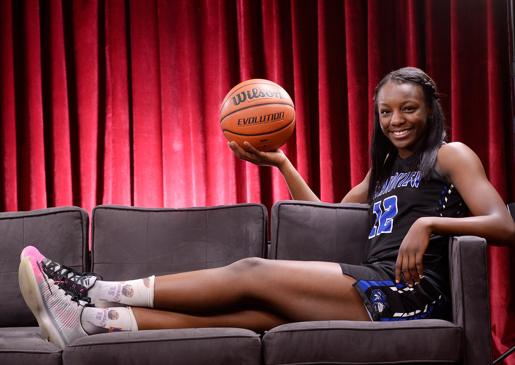 . Ms. Basketball Michaela Onyenwere of Grandview High School for the Colorado All-State basketball team at The Denver Post on Wednesday, March 30, 2016.  (Photo by Cyrus McCrimmon/ The Denver Post)