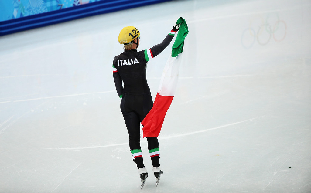 . Arianna Fontana of Italy celebrates after winning bronze in the women\'s 1500m Short Track event at the Sochi 2014 Olympic Games, Sochi, Russia, 15 February 2014.  EPA/HANNIBAL HANSCHKE