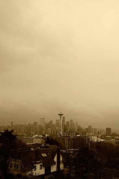 The Seattle skyline on a typical Seattle day
