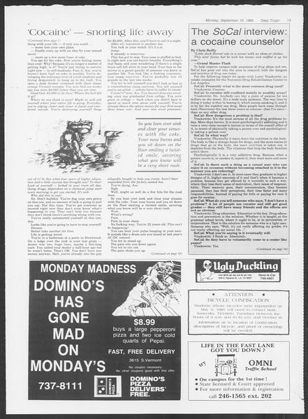 Daily Trojan, Vol. 100, No. 10, September 16, 1985