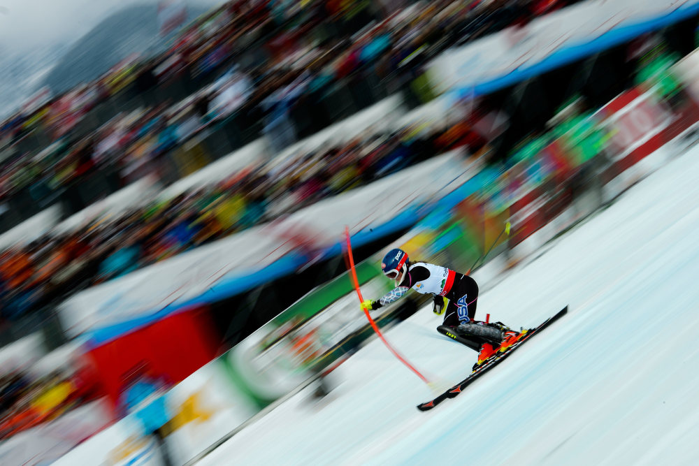 Description of . US Mikaela Shiffrin skis to win the second run of the women's slalom at the 2013 Ski World Championships in Schladming, Austria on February 16, 2013.  OLIVIER MORIN/AFP/Getty Images