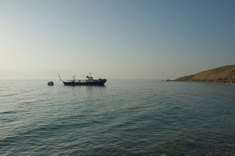 Boat cruising over Dead Sea in Israel